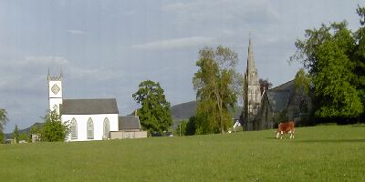 Colour photograph of Killearn Kirk and Village Hall 15KB